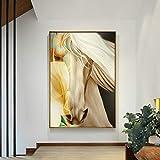 GJQFJBS Nordic Style Poster Leinwanddruck Pferd Tiermalerei Kunstdekoration Wohnzimmer Home A5...