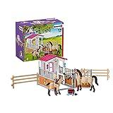 Schleich 42369 Horse Club Spielset - Pferdebox mit Arabern und Pferdepflegerin, Spielzeug ab 5...
