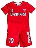 Coole-Fun-T-Shirts Denmark Trikotset Fussball DÄNEMARK Kinder Jungen + Mädchen Trikot + Hose Rot...
