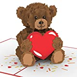 """PaperCrush® Pop-Up Karte """"Teddy mit Herz"""" - Süße 3D Geburtstagskarte für Kinder, Frau oder..."""