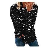 XUNN Damen Mode Langarm Oberteile Graffiti-Druck O-Neck T-Shirt Lässiges Loose Basic Top