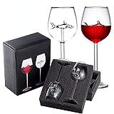 ARONTOME Rotweinkelche aus Glas, mit Hai im Inneren, Kristallflöten, Weingläser, für Zuhause,...