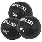 GORILLA SPORTS Medizinball-Set Kunstleder Schwarz 6 kg – 3 Fitnessbälle 1-3 kg