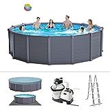 Intex Graphite Gray Panel Pool Set - Panel Wand Aufstellpool - Sehr luxuriös und robust - Ø 478 x...