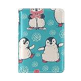COOSUN Reisepasshülle mit niedlichem Pinguine aus Leder, mit einer Tasche