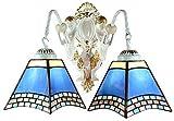 DALUXE Wandleuchten Tiffany Wandleuchten Farbe Glas Lampshaes Wohnzimmer Halle Gang Lichter 5.9in...
