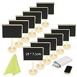 12 Mini Tafel Set,KAKOO Holz Kreidetafel zum Beschriften Memotafel Klein Schieftafel als Tischkarte...
