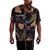 PERFECTHA Männer Hawaiian Hemden Kurzarm Front Tasche Urlaub Sommer Aloha Printed Beach Casual...
