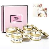 Weihnachtskerzen mit Grußkarte Geschenkbox - AKIMO Natural Soy Wax Vegane Kerzen, Geschenkset für...