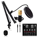 pombconw V8 Mikrofon Kits, Kondensatormikrofon Set mit Live-Soundkarte Ausgestattet mit Hängendem...