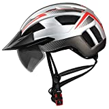 Shinmax Fahrradhelm,CE-Zertifikat,Fahrradhelm Radhelm Abnehmbarer Schutzbrille Visor für Männer...