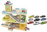 Leomark Große Parkgarage aus Holz - Wooden Parking - Garage mit Zubehör, Spielgarage mit Lift,...