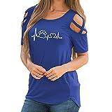 MERICAL Casual Tops für Frauen One Off Shoulder Riemchen T-Shirts Kurzarm