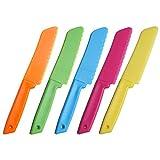 jky 10-teiliges Kunststoff-Küchenmesser Set in 5 Farben für Kinder, für Blattsalat, Salat, Kuchen...