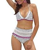 BJGXFMQ Bikini-Set, sexy gepolsterte Badeanzüge, mit Bommelsaum, hohe Taille, 2-teilig mit Quaste -...