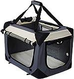 BDFA Hundebox Hundetransportbox Auto Transportbox Katzenbox Autobox mit,Grau,70 x 52 x 52 cm