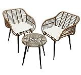 KMH®, Polyrattan Bistro-Set - 1 runder Tisch und 2 Gartensessel inkl. Sitzkissen (#106414)