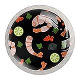Yitian Möbelknäufe mit Garnelen und Meeresfrüchten, bunt, 4 Stück