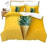 Rnvvaceo® Kinder-Bettwäsche-Set, wendbar, Bettbezug-Set, Weltraum, kreatives Obstpflanze, gelbe...