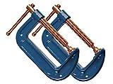 2 Stück Profi C-Schraubzwinge 100mm robust Stahl-Gewinde verkupfert gegen Schweißperlenbesatz