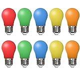 10er Pack Farbige Glühbirnen LED 1.5W E27Beleuchtung Glühbirnen, 220V AC LED Leuchtmittel...
