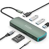 Hieha USB C Hub, 8 in 1 USB C Adapter Typ C Dockingstation mit 4K HDMI, 3*USB3.0,PD...
