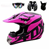 SLRR Motorradhelm - Motocross Helm Set Mit Brille Handschuhe Maske Fahrradhelm Unisex Fullface Helm...