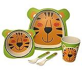 Kinder Geschirr Set aus Bambus 5 teilig I Kindergeschirr Set bpa frei I Tafelservice aus...