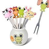 LEUYUAN Obstgabel-Set mit 6 niedlichen Tieren, Edelstahl, Dessert-/Salatgabeln mit Keramik-Halter...