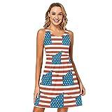 LORDWEY USA-Flagge Damen Casual Ärmellos Kurz Kleid mit Taschen, mehrfarbig, L