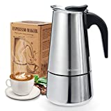 Espressokocher, Kaffeekocher, Godmorn Mokkakanne aus 430 Edelstahl, Espresso Maker für 6 Tassen...