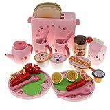 perfeclan Kid Wood Pretend Play Spielzeug Frühstück Toast Wurst & Obst Lebensmittel Schneiden Set