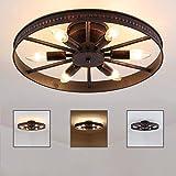 Rad Deckenleuchte Retro, Vintage Ring Deckenlampe - 6 Flammig - Rost - Runde Industry Lampe -...