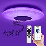 Deckey LED Deckenleuchte Dimmbar 32W, Stern Deckenlampe APP Fernbedienung Bluetooth Lautsprecher,...