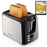 Gemlux Edelstahl Toaster 2 Scheiben – Toaster mit Breiten Schlitzen, 7 Bräunungsstufen mit Brot...