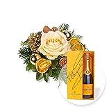 Blumenstrauß Himmelsgruß und Champagner Veuve Clicquot