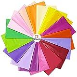 BUZIFU Seidenpapier 72 Blatt Geschenkpapier 18 Farben bastelpapier Blumen Papier Transparentpapier...