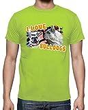 tostadora - T-Shirt I Love Bulldoggen - Manner Pistazie L