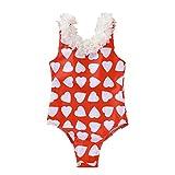 Cover Badeanzüge für Mädchen Baby Badeanzug mit Blumen Kragen Herz-Drucken Badebekleidung...