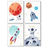 Pandawal Kinderzimmer Bilder für Junge und Mädchen Weltraum/Astronaut/Planeten Deko 4er Poster Set...