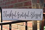 Thankful Grateful Blessed Wood Sign Family Sign Love Sign Farmhouse Sign Thanksgiving Kitchen Sign...