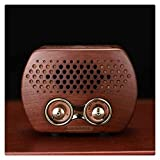 KDLK Retro tragbarer FM MP3 Radio Lautsprecher mit Bluetooth Holz HiFi Sound TF Kartensteckplatz...