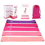 Ponsey Theraband -5 Latex Terra Band Fitnessband mit Anleitung, Tragetasche -Resistance Bands...
