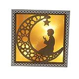 DierCosy Eid Mubarak-Dekor aus Holz Penta Licht Eid Ramadan Holz Licht Party Supplies Platz...