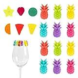 MHwan Glasmarkierer Party Weinglas, Teebeutel Halter Silikon, Wiederverwendbare Weinglasmarker...