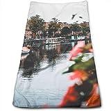 Dnwha Polyester-Handtuch, ruhiger See und Boot, super weich, Gesichtswäsche und Haarpflege,...