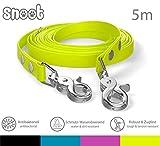 SNOOT Schleppleine 5m - Neon-Gelb - zugfeste, schmutz- und Wasserabweisende Hundeleine mit Zwei...
