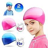 Badekappe Kinder Silikon Wasserdicht für Lange Haare Kurzes Haar Bademütze für Kinder,Jungen und...