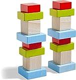 HABA 305455 - 3D - Legespiel Vier mal vier, bunte Holzbausteine zum Legen und Stapeln, 16 Bausteine...