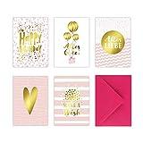 5 Geburtstagskarten im Set inkl. Umschläge in pink. Rosa Glückwunschkarten zum in DIN A6 mit edler...